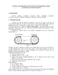 Studiul Geometriei și Portanței Transmisiilor prin Lanțuri și Curele Dințate - Pagina 1