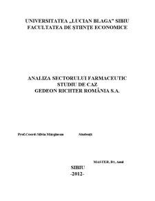 Analiza Sectorului Farmaceutic - Studiu de Caz Gedeon Richter România SA - Pagina 1