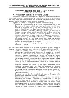Regulatoare Automate Analogice. Legi de Reglare - Pagina 1