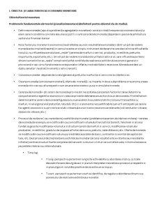 Obiectul și Caracteristicile Economiei Monetare - Pagina 1