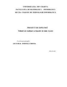 Tehnici de Realizare a Bazelor de Date - Pagina 1