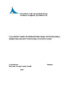 Valorificarea Subproduselor și Minimizarea Deșeurilor din Industria Panificației - Pagina 1