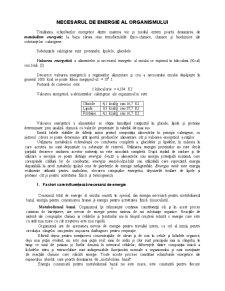 Necesarul de Energie al Organismului - Pagina 1