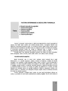 Factorii Determinanți ai Dezvoltării Turismului - Pagina 1