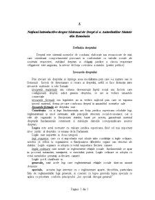 Noțiuni Introductive despre Sistemul de Drept și a Autoritatilor Statale din România - Pagina 1