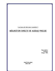 Măsurători Directe de Aceeași Precizie - Pagina 1