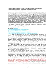Comunicarea Instituțională - Despre Promovarea Imaginii Instituției Publice - Pagina 1