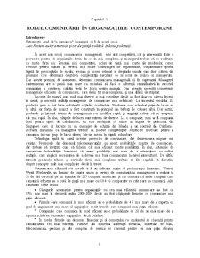 Comunicare Manageriala - Rolul Comunicarii - Pagina 1