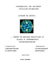 Tehnici de Biologie Moleculara in Analiza si Epidemiologia Enterovirusurilor - Pagina 1