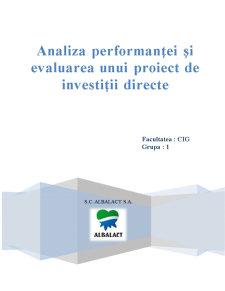 Analiza Performanței și Evaluarea unui Proiect de Investiții Directe - Pagina 1