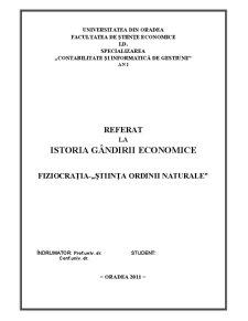 Istoria Gandirii Economice - Fiziocratia - Pagina 1