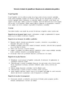 Metode si Tehnici de Planificare Finanicara in Administratia Publica - Pagina 1