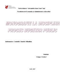 Fundamentarea si Finantarea Cheltuielilor Bugetare la o Institutie din Administratia Publica cu Referire la Primaria Comunei Tutova - Pagina 1