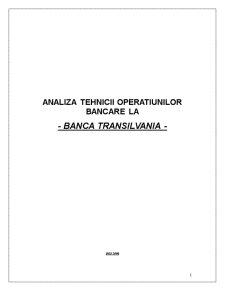 Analiza Tehnicii Operatiunilor Bancare la Banca Transilvania - Pagina 1