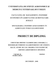 Cercetări Privind Valorificarea Durabilă a Resurselor Turistice și Agroturistice din Județul Bacău - Pagina 1