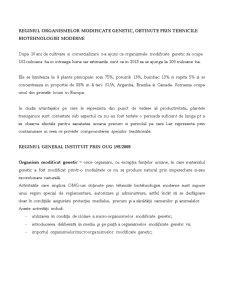 Regimul Organismelor Modificare Genetic - Pagina 1