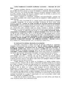 Cadrul Tradițional al Evaluării Rezultatelor Economico - Financiare ale unei Firme - Pagina 1