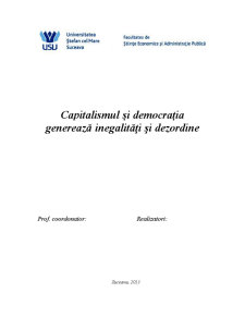 Capitalismul și Democrația Generează Inegalități și Dezordine - Pagina 1