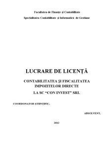 Contabilitatea și Fiscalitatea Impozitelor Directe la SC Con Invest SRL - Pagina 1