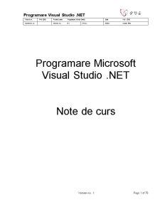 Programare Visual Studio .Net Version 0.1 Final - Pagina 1