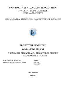 Transmisie Mecanică cu Reductor și Curele Trapezoidale Înguste - Pagina 1