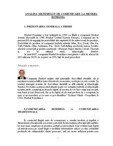 Analiza Sistemului de Comunicare la Henkel România - Pagina 1
