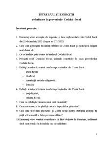 Întrebări și Exerciții Referitoare la Prevederile Codului Fiscal - Pagina 1