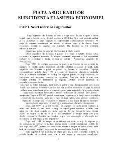 Piata Asigurarilor si Incidenta ei Asupra Economiei - Pagina 1