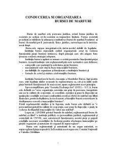 Conducerea si Organizarea Bursei de Marfuri - Pagina 1