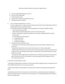 Factori de Influenta a Tipurilor de Structuri Organizatorice - Pagina 1