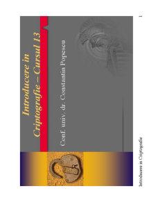 Introducere în Criptografie - Curs 13 - Pagina 1
