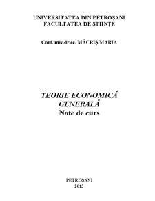 Teorie Economică Generală - Pagina 1