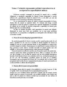 Cerintele Ergonomice Privind Reproducerea si Recuperarea Capacitatii de Munca - Pagina 1