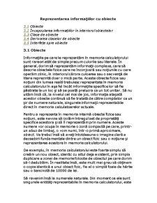 Reprezentarea Informațiilor cu Obiecte - Pagina 1
