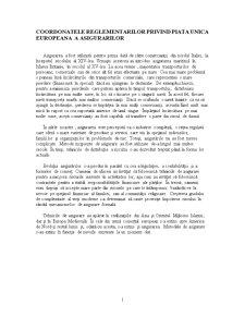 Coordonatele Reglementarilor privind Piata Unica Europeana a Asigurarilor - Pagina 1
