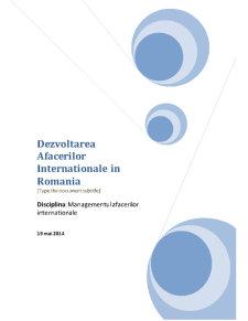 Dezvoltarea Afacerilor Internationale in Romania - Pagina 1