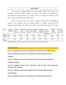 Using an AHP Matrix to Take a Decision Regarding Places to Visit - Pagina 5