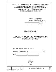 Analiza și Calculul Parametrilor Fibrelor Optice - Pagina 1