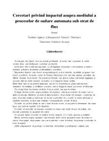 Cercetari Privind Impactul Asupra Mediului a Proceselor de Sudare Automata Sub Strat de Flux - Pagina 1
