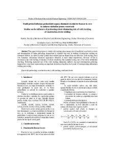 Studii Privind Influența Preîncălzirii Aspura Eliminării Riscului de Fisurare la Rece la Sudarea Oțelurilor pentru Construcții - Pagina 1