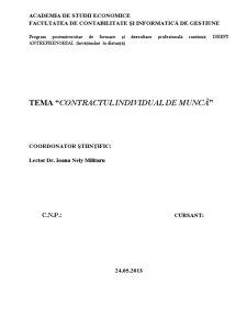 Contractul Individual de Muncă - Pagina 1