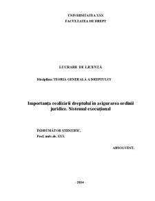 Importanta Realizarii Dreptului in Asigurarea Ordinii Juridice - Sistemul Executional - Pagina 1