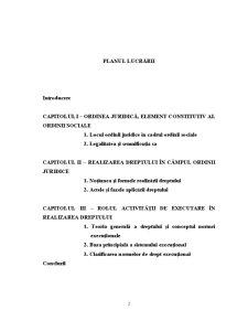 Importanta Realizarii Dreptului in Asigurarea Ordinii Juridice - Sistemul Executional - Pagina 2