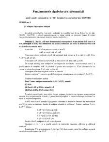 Fundamentele Algebrice ale Informaticii - Pagina 1
