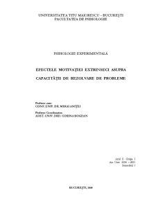 Efectele Motivației Extrinseci asupra Capacității de Rezolvare de Probleme - Pagina 1