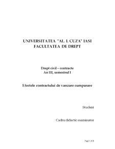 Efectele Contractului de Vanzare Cumparare - Pagina 1