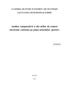 Analiza comparativă a site-urilor de comerț electronic existente pe piața articolelor sportive - Pagina 1