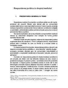 Raspunderea juridica in dreptul mediului - Pagina 1