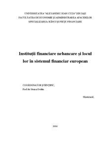 Instituții financiare nebancare și locul lor în sistemul financiar european - Pagina 1