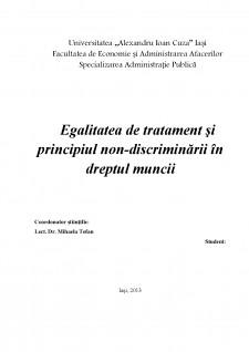 Egalitatea de tratament și principiul nondiscriminarii în dreptul muncii - Pagina 1
